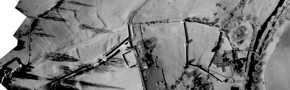 Black and white aerial of kells showing earthworks of the lost medieval town.