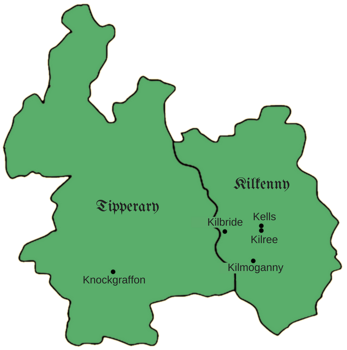 Counties of Kilkenny and Tipperary with town locations marked.